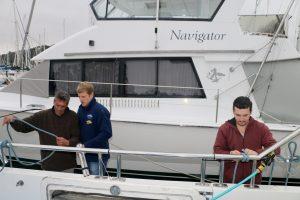 Swish teaches the twins the art of nautical knots