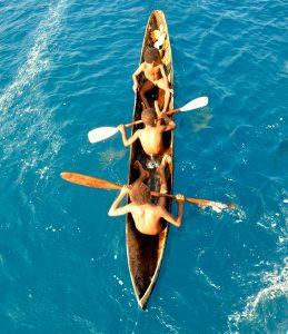 Village children, canoe, Ureparapara, Vanuatu,