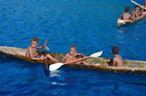 Vanuatu, Ureparapa, children, canoe