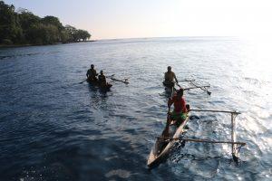 Vanuatu villagers canoe